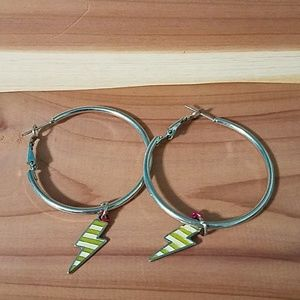 Silver hoop earrings with removable charms